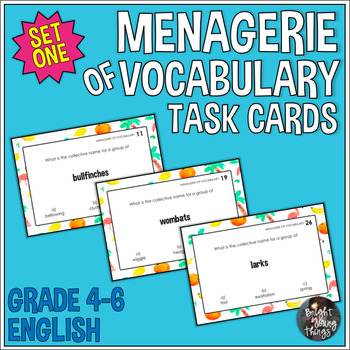 Collective Nouns Task Cards - Menagerie of Vocabulary - Set 1