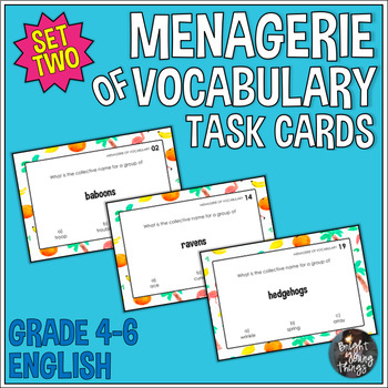 Collective Nouns Task Cards - Menagerie of Vocabulary - Set 2