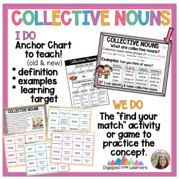 Collective Nouns Pack: anchor chart poster, activity center, workshe #luckydeals