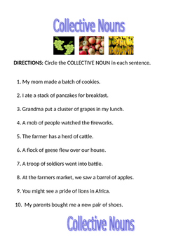 Collective Nouns Worksheet | Teachers Pay Teachers