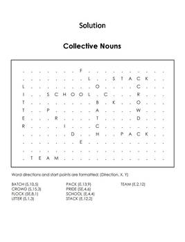 Collective Nouns Worksheet/ Word Search - Coloring Sheet