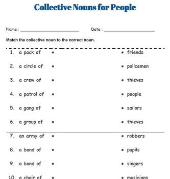 Collective Nouns Worksheets (People, Animals and Things)