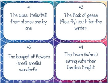 Collective Nouns and Verb Agreement Task Cards