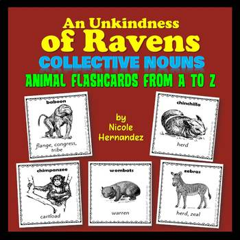 Collective Nouns of Animal Groups from A to Z (120 Cards)
