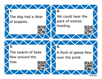 Collective Nouns with QR Codes Task Cards and/or Scoot Game