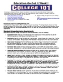 College 101 Quick Information Sheet