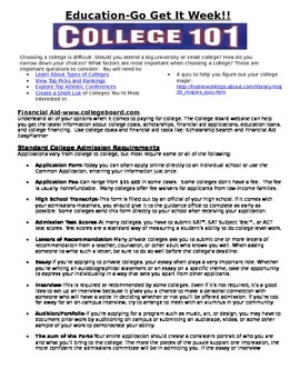 College 101 Quick Information Sheet