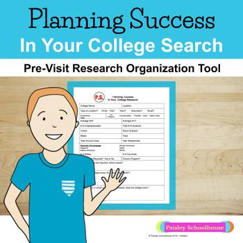 College Search FREEBIE: Pre-Visit Research Organization Tool