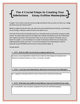 College Admissions Essay Brainstorm and Outline Activities