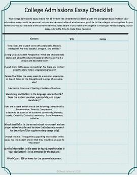essay checklist college