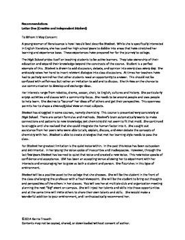 Letter Of Recommendation For College Application from ecdn.teacherspayteachers.com