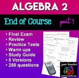 Algebra 2 College Algebra Final Exam or Review  | Distance Learning
