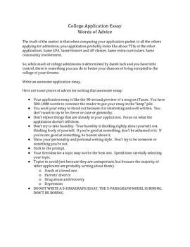 College Application Essay Advice to Students
