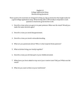 College Application Essay Brainstorm Sheet
