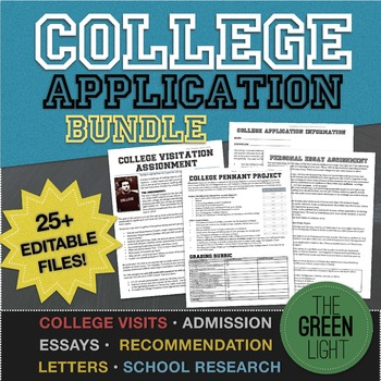 College Application Essay, Recommendation Letters, Research Project BUNDLE