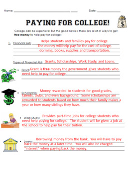 College Awareness Day - All about the Finances of College Worksheet