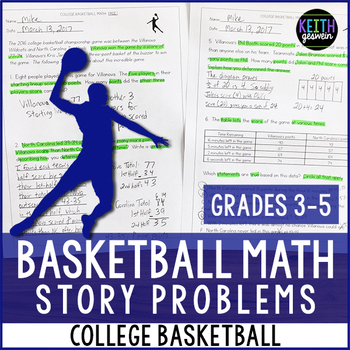 College Basketball Math Problems (Grades 3-5)