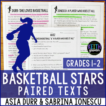 College Basketball Paired Texts: Asia Durr and Sabrina Ionescu (Grades 1-2)