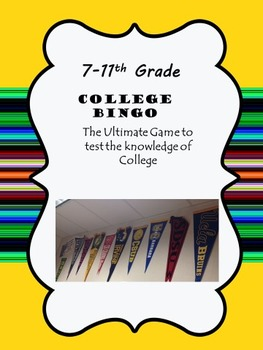 College Bingo. College Awareness for your students. SALE