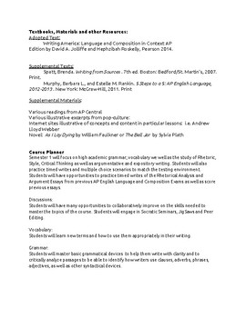 College Board Approved (SY1718) AP English Language Syllabus