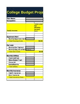 College Bound Excel Spreadsheet