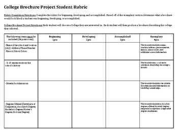 College Brochure Creation Project Rubric