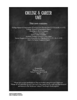 College & Career Readiness Unit-Common Core aligned