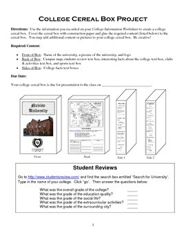 College Cereal Box Research Project