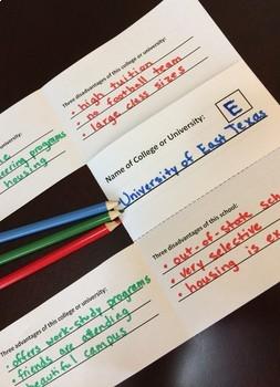 College Comparison Activity Folded Paper Project