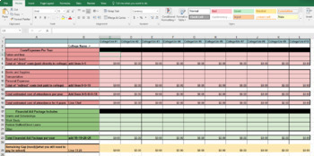 College Cost of Attendance and Comparison Tool - Excel