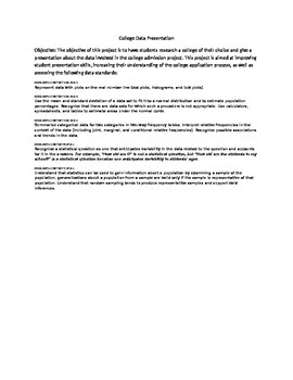College Data Presentation Standard Overview