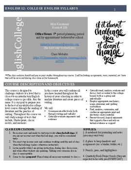 College English (English 12) Syllabus (Editable)
