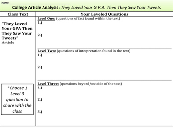 College Essay Article Analysis