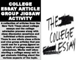 College Essay Article Group Jigsaw Activity