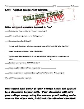 College Essay Boot Camp Peer-Editing