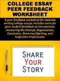 College Essay Peer Feedback Worksheet
