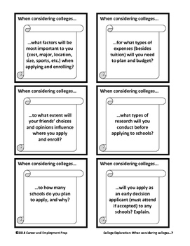 College Exploration Card Set Group Activity