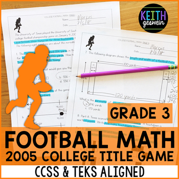 College Football Math Problems (Grade 3)