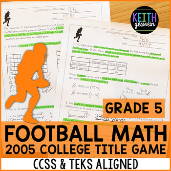 College Football Math Problems (Grade 5)