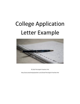 College Letter Application Example