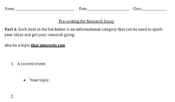 College-Level Research Essay: Pre-writing/Brainstorming Handouts