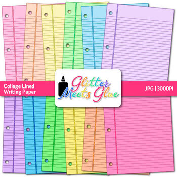 College Lined Writing Paper {Handwriting Scrapbook Background, Writing Center}