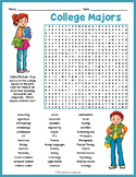 COLLEGE MAJOR Word Search Puzzle Worksheet Activity