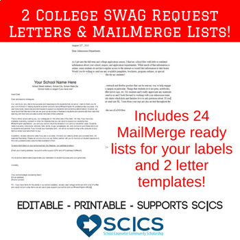College Materials Request Letter Template & 24 Mailing Lists Bundle *UPDATED*