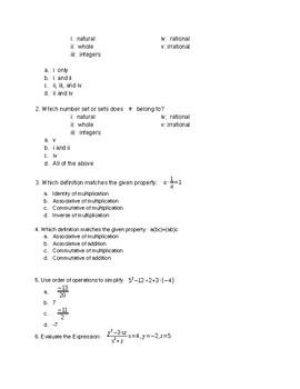 College Prep Math Fall Semester Exam