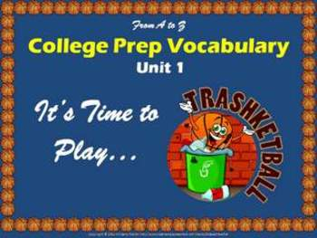 College Prep Vocabulary Trashketball Review Game