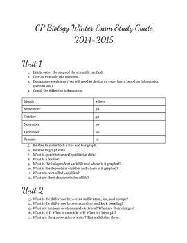 College Prep Winter Study Guide