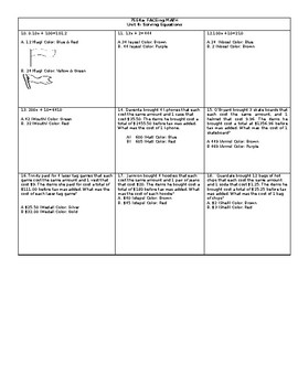 College Readiness Standard 7EE4.a Solving Equations Real World Word Problems