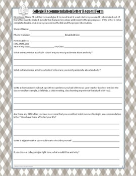 College Recommendation Request Form: Keep Track of all your Student Requests!