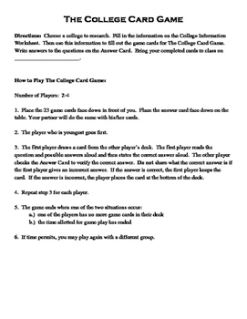 College Research Card Game